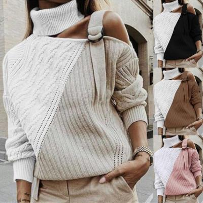 Women Winter Warm Knitted Sweaters Turtleneck Spaghetti Straps Off The Shoulder Pullovers Sweater Patchwork Jumper Femme