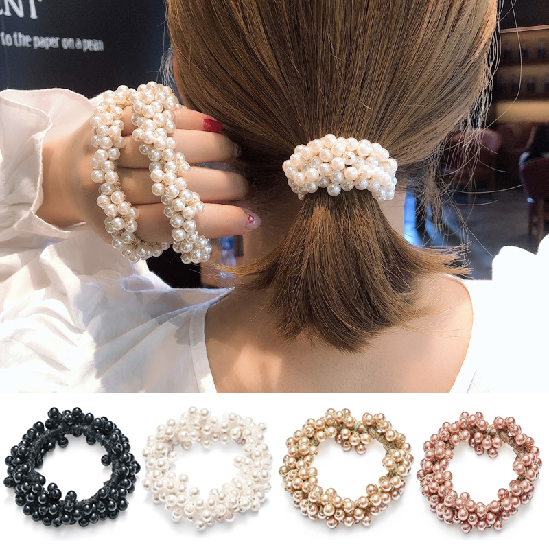 Rubber Band Rope Elastic Girls Scrunchie Ponytail Holder Pearl Beads Women Hair Bands Ties Accessories for Women(China)