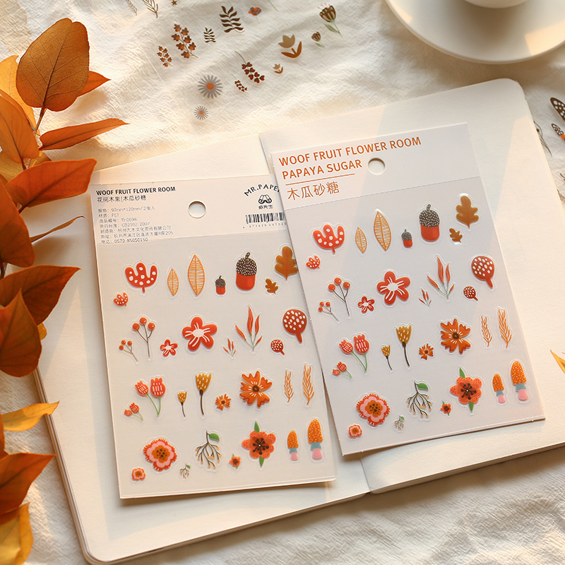 2 Pcs/pack Flower Fruit Tree PET Bullet Journal Decorative Stickers Adhesive Stickers DIY Decoration Diary Stationery Stickers