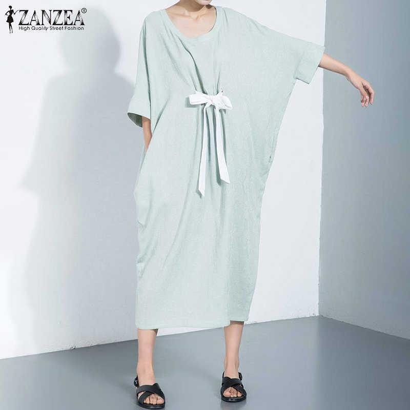 ZANZEA נשים 3/4 שרוול הקיץ הקיצי גבירותיי מקרית בבאגי ארוך חולצה שמלות רצועות קשת חוף Vetidos צד כיסים Robe Femme