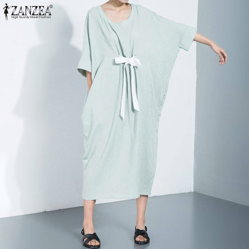 ZANZEA Women 3/4 Sleeve Summer Sundress Ladies Casual Baggy Long Shirt Dresses Strappy Bow Beach Vetidos Side Pockets Robe Femme