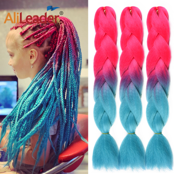 AliLeader 24inch Pink Ombre Pink Purple Jumbo Braids Synthetic Crochet Braiding Hair Extensions Hairstyles 102 Colors