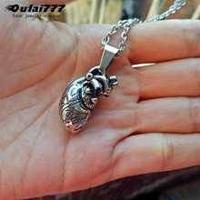 oulai777 mens heart necklaces pendants stainless steel Punk Exquisite hip hop gmale accessories fashion pendant 2019 new silver