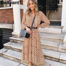 BeAvant Bohemian long party dress Floral print geometric women vintage dress Autumn winter elegant office lady dress vestidos
