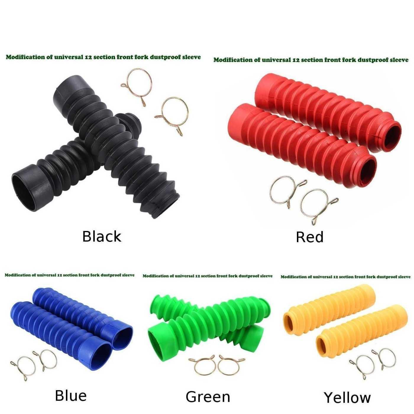 25*28mm Evrensel Motosiklet Ön Çatal Kapağı Motosiklet Gator Çatal Botları Kauçuk Siyah, Kırmızı, mavi, Yeşil, Sarı