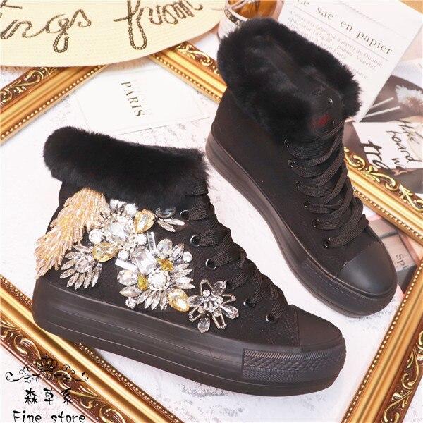 Foret à eau toile chaussures 100 Han version fond épais lapin cheveux chaussures cravate femmes chaussures simples