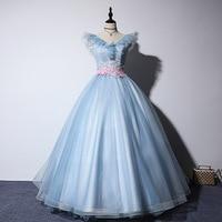 Vestidos de 15 anos V Neck Appliques Tulle Ball Gowns Formal Party Dress 2019 Girl Quinceanera Dress Robe De Quinceanera