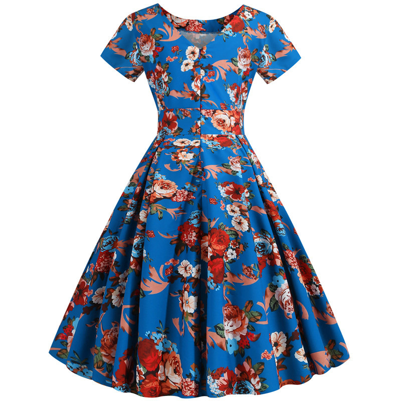 Summer Floral Print Elegant A-line Party Dress Women Slim White Short Sleeve Swing Pin up Vintage Dresses Plus Size Robe Femme 263