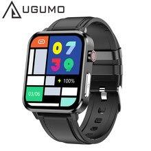 Homem ppg ecg relógio inteligente com temperatura do corpo freqüência cardíaca monitor de pressão arterial smartwatch 1.7 polegada toque completo feminino esporte relógio