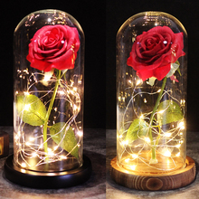 2020 Beauty and the Beast Red Rose in a glass dome on a wooden base as a Valentine's Day Mother's Day gift red rose with fallen petals in a glass dome on a wooden base birthday gift beauty