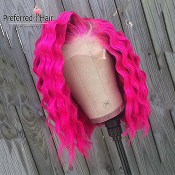 Preferred Preplucked Hot Pink Loose Wave Wig 13x4 Brazilian Transparent Lace Wigs Remy Short Human Hair Wigs For Black Women