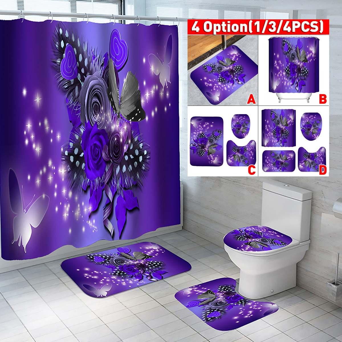 Purple Flower Butterfly Waterproof Print Shower Curtain 4 Piece Carpet Cover Toilet Cover Bath Mat Pad Set Bathroom Curtain