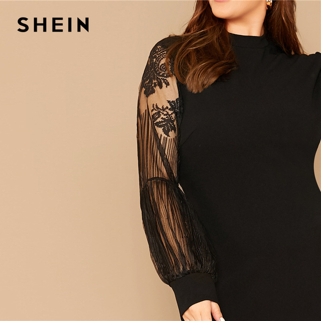 SHEIN Plus Size Black Mock-Neck Lace Lantern Sleeve Solid Dress Women Summer Autumn Plus Elegant Fitted Short Dresses 3