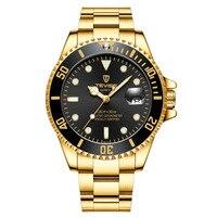 뜨거운 브랜드 블루 럭셔리 siliconce dz 자동 날짜 주 표시 빛나는 다이버 시계 스테인레스 스틸 손목 시계 남성 시계