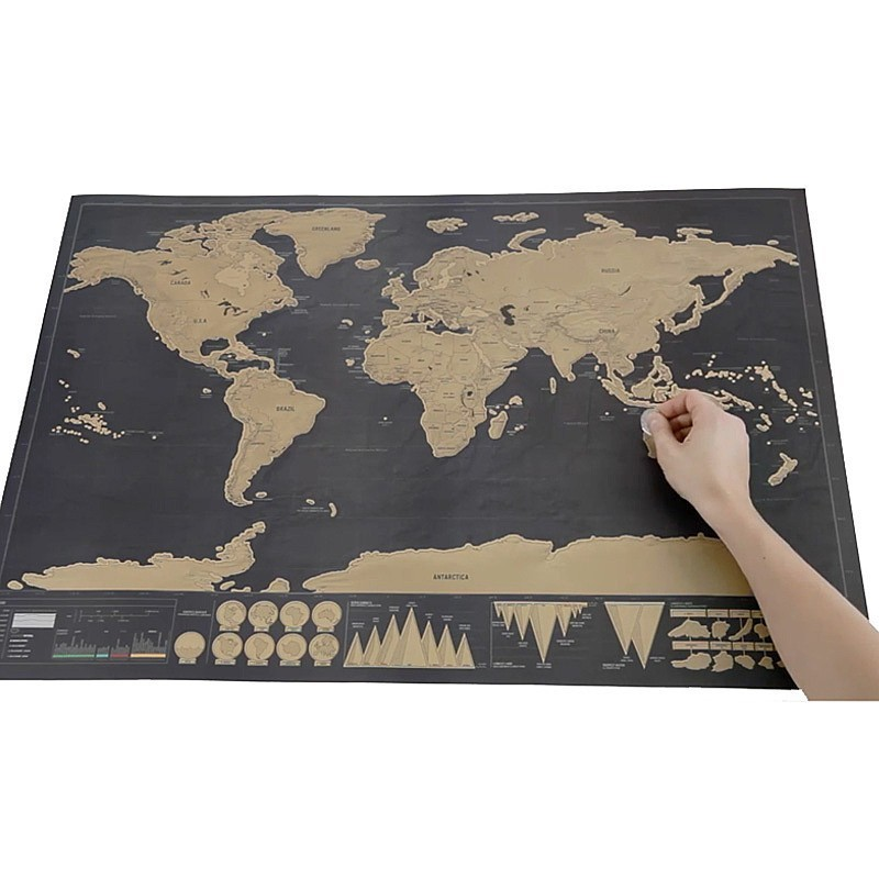 1Piece Deluxe Black Scratch Off World Map 82.5 X 59.4cm As Room Decoration Wall Stickers 7