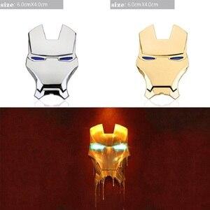 Image 2 - 10pcs 3D In Metallo Cromato Iron Man adesivo para carro Emblema Adesivi Decorazione The Avengers Styling Auto Decalcomanie Accessori Esterni per volkswagen