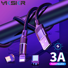 Magnetic For Micro USB Type C Cable For iPhone Xiaomi Redmi Mobile Phone Fast Charging USB C Cable Magnetic Charger Wire Cord magnetic adsorption usb charging cable micro type c lighting for iphone x fast charge charger cord for xiaomi mobile phone cable