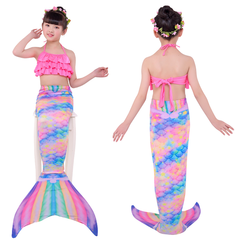 Halloween new Kids Girls Mermaid Tails with Fin Swimsuit Bikini Bathing Suit Dress for Girls With Flipper Monofin For Swim