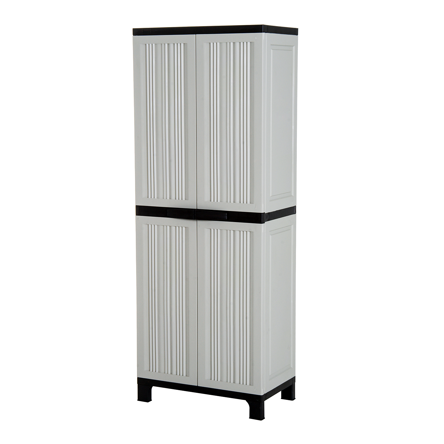 Outsunny Outdoor Waterproof Cabinet With 3 Adjustable Shelves Balcony Terrace Plastic 65 × 37 × 172 Cm