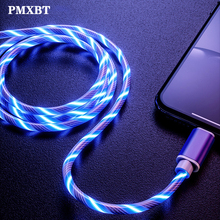 цена LED Bright Lighting Glow Flowing USB Charging Cable For iPhone X Samsung A50 A70 1M Fast Charge Data Line Micro USB Type C Cabo