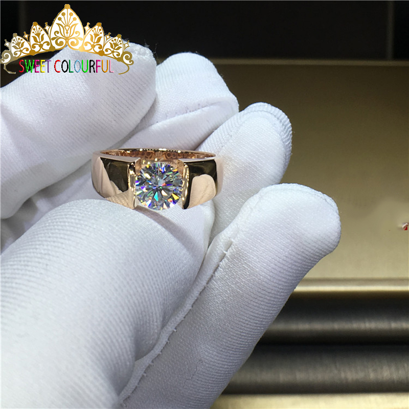 100% 14K Gold Moissanite Diamond Man Ring D Color VVS With National Certificate MO-002