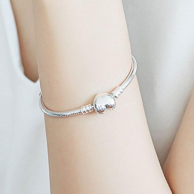 TOP SALE Pulseira Bracelet Femme 925 Sterling Silver Heart Snake Chain Bracelet For Women Fit Original Charm Beads Jewelry Gift 6