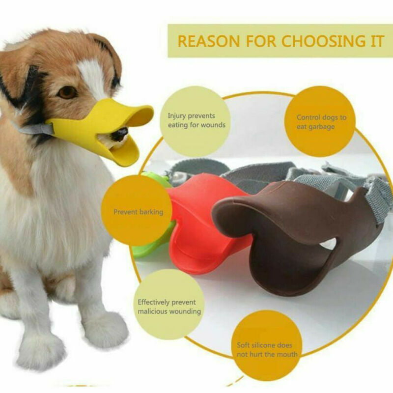1pcs Dog Muzzle Silicone Cute Duck Mouth Mask Muzzle Bark Bite Stop Small Dog Anti-bite Masks For Pets Accessories 9 Colors SML