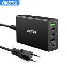 Зарядное устройство CHOETECH Quick Charge 3,0 USB 60 Вт QC3.0 QC Turbo Быстрая зарядка мультирозеточный мобильный телефон зарядное устройство для iPhone samsung Xiaomi