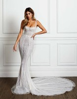 Luxury Bone Wedding Dresses Lace Appliques Mermaid 3D Lace Bridal Dress 2020 HA188