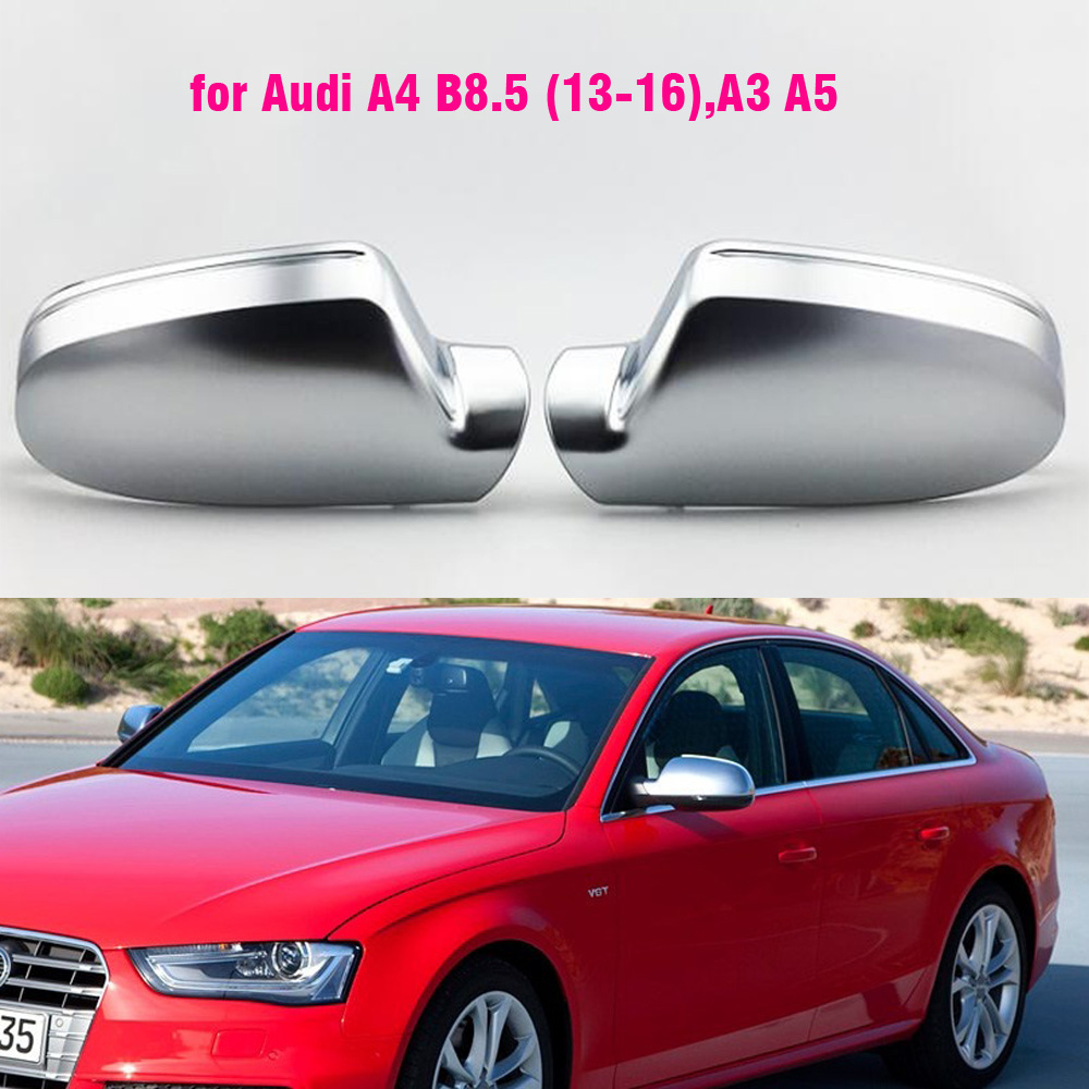 Matte Chrome Mirror Cover Caps for Audi B8.5 A3 A4 RS4 A5 S5 RS5 W//O Lane Assist
