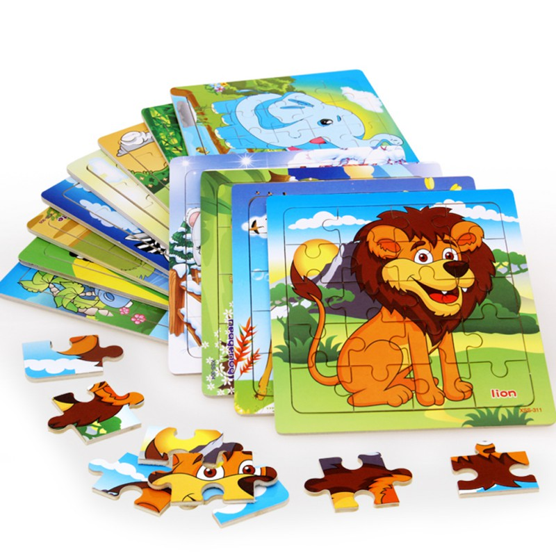 Baby Early Educational Toys Toddler Wooden Forest Animal Cube Puzzles (20 Pcs) Cartoon Animal Wooden Puzzles Toys 20pcs