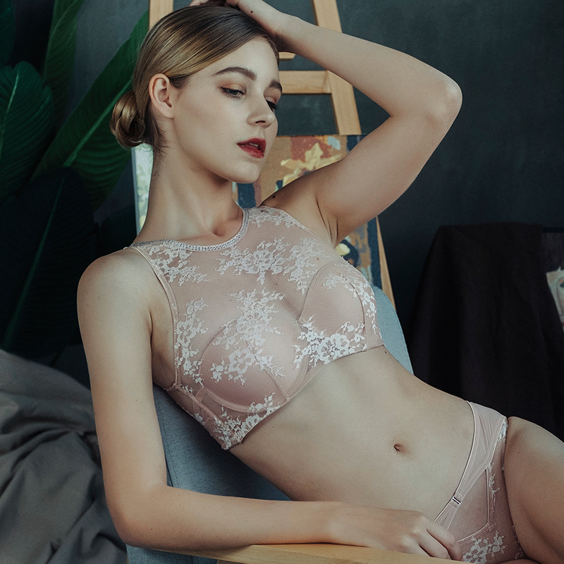 Sexy lingerie luxurious lace ribbon diamond vest bra set gathered adjustable tube top underwear suit Vest-type bras and briefs