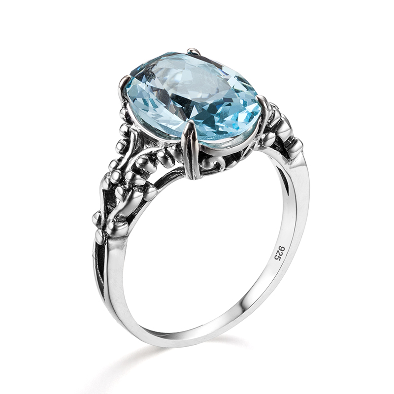 Real 925 Sterling Silver Womens Rings Fine Jewelry Aquamarine Ring Neo-Gothic Oval Shape Gemstones Wedding Bands Jewellery Gift