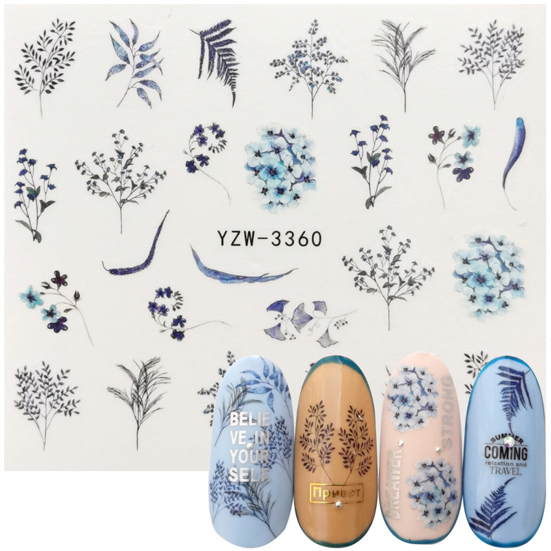 1 Sheet Nail Flower Leaves Decor Water Decal Chic Sticker For Nails Pattern Painting Wrap Paper Foil Tip Tattoo Manicure