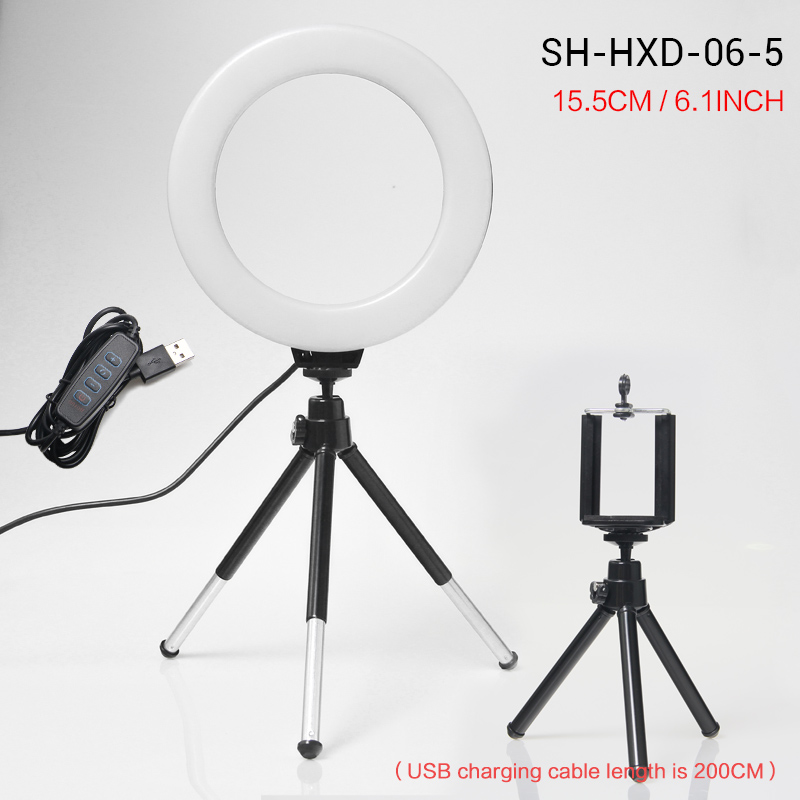 16cm LED Stepless Dimmable Makeup Selfie Ring Light for Youtube Video Camera Continuous Lighting Photo Studio Live Beauty Light image