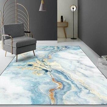 Alfombras con estampado de mármol para sala de estar, alfombras antideslizantes con impresión dorada en azul y blanco para sofá, mesa y cocina para dormitorio infantil