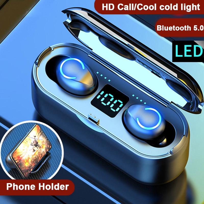 Hembeer Wireless Headphones Bluetooth 5.0 Earphone TWS HIFI Mini In-ear Sports Running Headset For IOS Android Phones HD Call