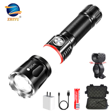 ZHIYU USB Rechargeable Led Flashlight Torch Magnetic Super B
