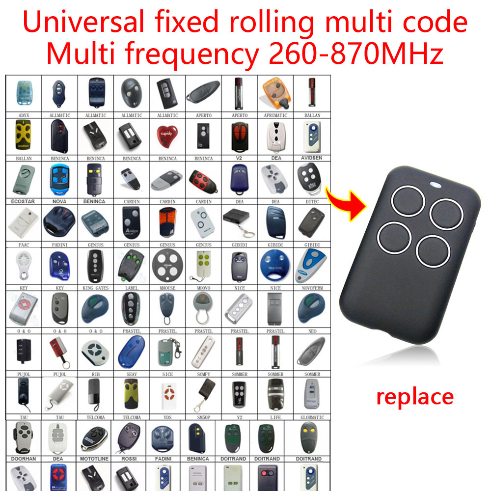 Multi Frequency 260-870MHz Garage Door Remote Cotroller Universal Transmitter DOORHAN Fixed Multi Code Remote Control