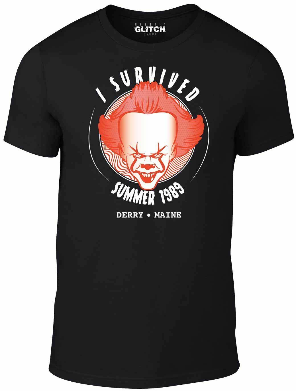 Mens 나는 89 t 셔츠의 여름을 살아났다 clown pennywise horroy halloween