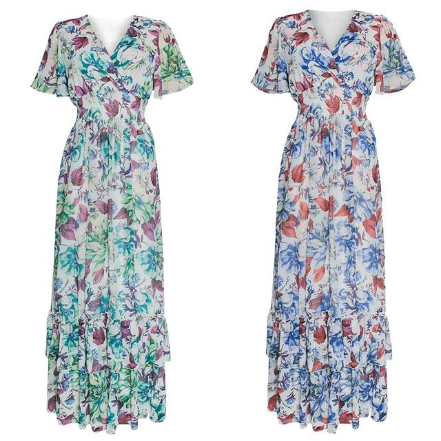 Women Boho Floral Chiffon Dress Abaya  2