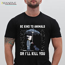 John Wick Be Kind To Animal Or Ill Kill You Adult Black T-Shirt Size  Cartoon t shirt men Unisex New Fashion tshirt