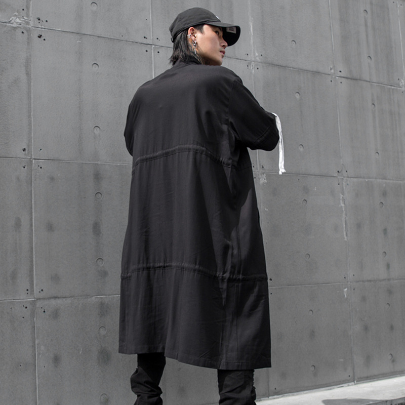 Cardigan Overcoat Windbreaker Long-Jacket Streetwear Male Loose Hip-Hop Drawstring-Design
