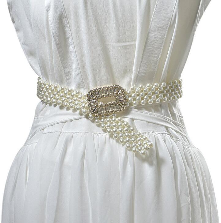 Women's Runway Fashion Diamonds Buckle Elastic Pearl Cummerbunds Female Dress Corsets Waistband Belts Decoration Wide Belt R2525