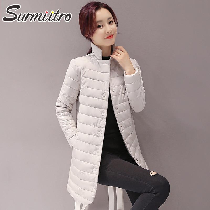 SURMIITRO Women Winter Down Long Jacket 2019 Atumn Fashion Long Sleeve Warm   Parka   Quilted Coat Female