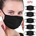 38 #5 шт. маска для лица, закрывающая рот одноцветная черная многоразовая дышащая маска унисекс моющаяся многоразовая Пылезащитная маска для ...