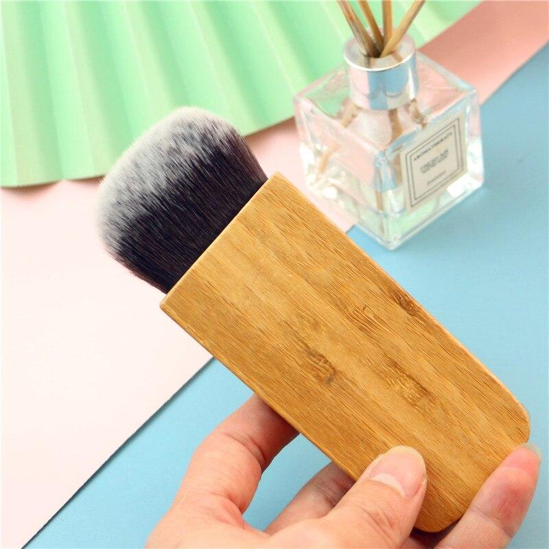 High Quality Blending Powder Brush Bamboo Loose Powder Shading Blusher Contour Soft Synthetic Hair Makeup Powder Brush 1pcs