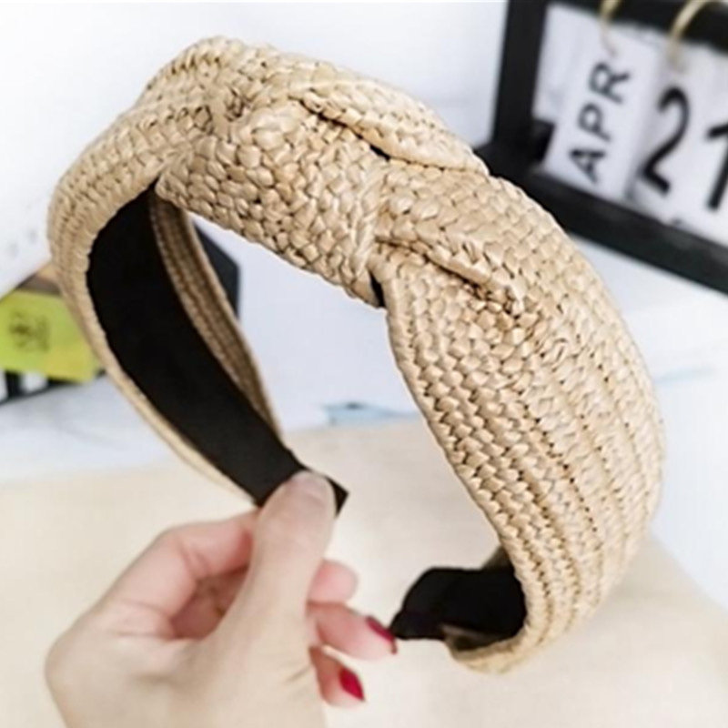 Handmade Straw Weaving Hairband Knot for Women Summer Hair Accessories Rattan Headband Adults Holiday Headwear Hair Headband