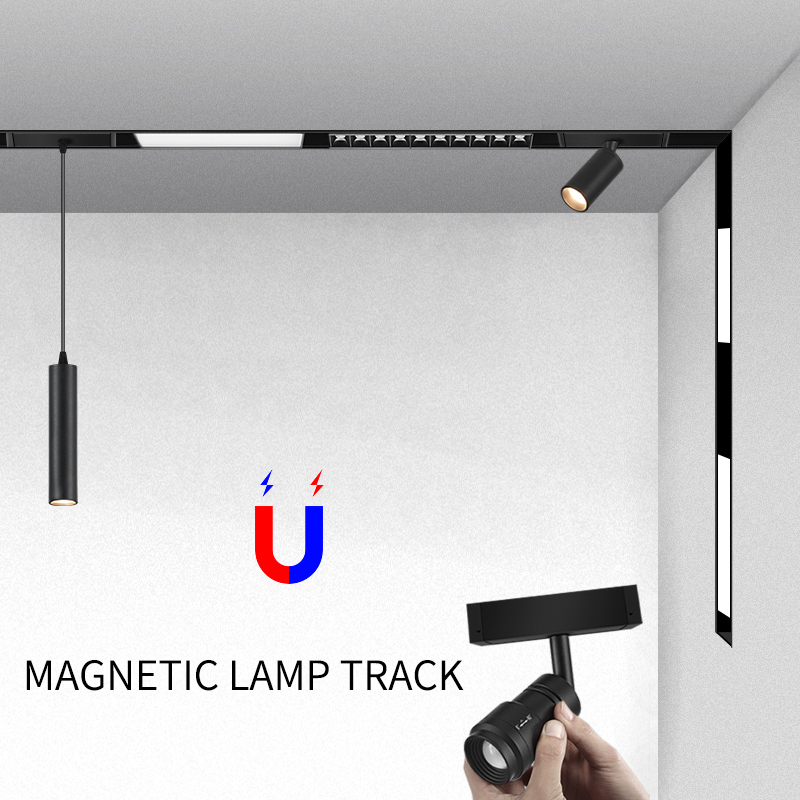 Creative magnetic lamp holder 34mm width aluminum 0 5M 1M ceiling recessed suspended LED magnet mount lights track Rail