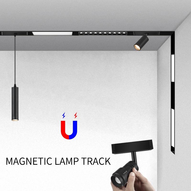 Creative magnetic lamp holder 34mm width aluminum 0.5M 1M ceiling recessed suspended LED magnet mount lights track Rail